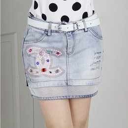 Wholesale Sexy Jeans Skirts - 2016 Fashion summer new arrive mesh patchwork hollow out sexy pencil denim short jeans mini skirts