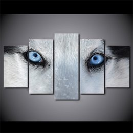 Wholesale Decorative Figure Painting Oil - 5 Pcs Set Framed HD Printed Wolf Blue Eyes Canvas Poster Picture Home Decor Decorative Wall Art Oil Painting