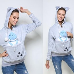 Wholesale Lovers Cats - Cat Lovers Hoodie Kangaroo Dog Pet Paw Emboridery 2017 Autumn New Pullovers Cuddle Pouch Sweatshirt Pocket Animal Ear Hooded