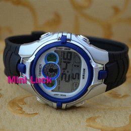 Wholesale Stop Digital - Ohsen New 7Color Funny BackLight Black Rubber Mens Women Digital Multifunction AL Stop Sport Watch Watches 0739-2 Blue