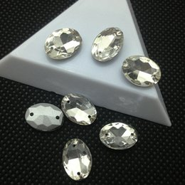Wholesale Rhinestones Pointback - 8x10 10x14mm 13x18mm 18x25 20x30mm Oval Pointback Sew on rhinestone oval Glass crystals 2holes Silver Base