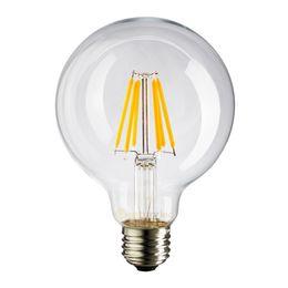 Wholesale White Globe Lamp E27 6w - 4W 6W,Globe G80 Lamp,Edison LED Filament Bulb,E27 E26 Base Shape,Cool Warm White,Dimmable