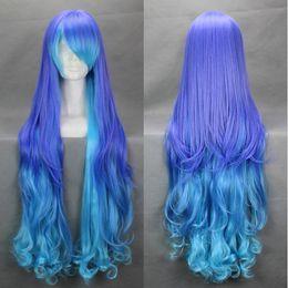 Parrucche di luka online-Serie Vocaloid anti infin. parrucca holic luka Cospaly parrucca sintetica con capelli mossi lunghi misti blu