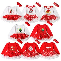 Wholesale Baby Cake Dresses - 8 Designs Dress With Hairband Christmas Newborn Baby Girl Clothes Santa Claus Tutu Infant Cake Dresses Party Costume Gifts CCA7012 50pcs