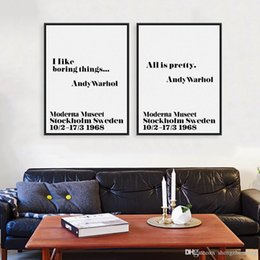 Wholesale Andy Warhol Canvas Art - Modern Nordic Black White Minimalist Typography Andy Warhol Life Quotes Art Print Poster Wall Picture Canvas Painting Home Decor