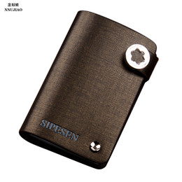 Wholesale Porte Carte - Wholesale-Quality Fashion porte carte Credit Card Holder Genuine Leather Buckle Unisex ID Holders Package Organizer ger card wallet