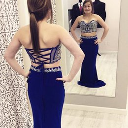 Wholesale Corset Evening Gown Chiffon - Sparkling Beading Royal Blue Two Pieces Mermaid Prom Dresses Sweetheart Neck Corset Back Long Evening Party Gowns 2016 Cheap Custom Made