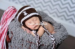 Wholesale Crochet Baby Hat Football - Newborn Baby Photography Prop Crochet Knitted Unisex Boy Girl Sport Football Hat Beanie Cap animal backpack