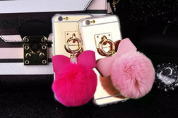 Wholesale Iphone 5s Bow - For S7 Edge Bling Mirror Soft TPU Back Cover Metal Ring Rope Tassel Pendant Bow Fur Ball Case For Iphone 5s 6S Plus