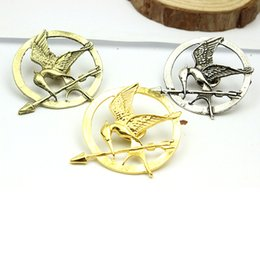 Wholesale Mockingjay Gold Wholesale - The Hunger Games Brooches Inspired Mockingjay And Arrow Hot Movie Hunger Games Bird Brooch Pins For Women And Men DHL free shipping