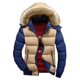 Wholesale Overcoat Coats Men - Fall-Hot fashion 2016 Contrast Color Mens Winter Jackets Casual Thick Cotton Coat Hat Detachable Patchwork Warm Overcoat MXG0093