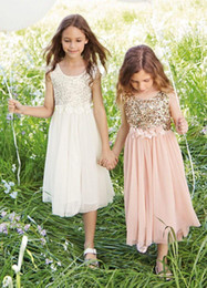 Wholesale Chiffon Shirts For Kids - Chiffon Flower Girls Dresses For Wedding Scoop Neck Hand Made Flowers Little Kids Communion Gowns Sashes Sequins A-Line Girls Skirts Custom
