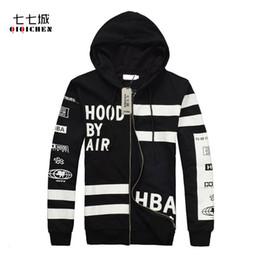 Wholesale Hba Hood Air Women - Wholesale- HBA HOOD BY AIR New Autumn Letter Print Zipper Hooded Sweatshirt Men Hip Hop Casual Cardigan Sportswear Hoodie Coat Men Women