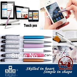 Wholesale Ball Pen Factory - Factory outlets Touch pen SW Crystal 2 in 1 Capacitive Touch Stylus Ball Pen for iPhone iPad Samsung Tablet PC Cellphone