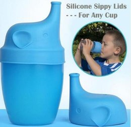 Wholesale Drinking Bottle Bpa - BPA Free Silicone Stretch Lids Silicone Sippy Lids for Baby Drinking Converts Any Glass to a Sippy Bottle Makes Drinks Spillproof Lids 876