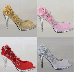 Wholesale Round Head Fish - New 2018 summer wedding shoe fish mouth round head thin with shallow mouth sandals with high bar mitzvah diamond women's shoes