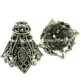Wholesale Silver Filigree Bead Caps - 19048 5pcs Vintage Silver Hollow Filigree Flower Tassel End Cap Retro Jewelry