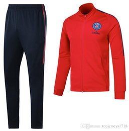 Wholesale Training Suits For Men - 17 18 thai quality for jacket soccer sets Training suit 2017 2018 adult DI MARIA CAVANI VERRATTI NEYMAR JR MATUIDI jogging
