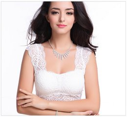 Wholesale Strapless White Lace Lingerie - New Design Outwear Lingerie Lace Crop Top Bra Black White Sexy Wireless Comfortable Sport Yoga Bras