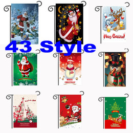 Wholesale Hanging Outdoor Christmas Decorations - 43 Styles Christmas Garden Flags 30*45cm Outdoor Hanging Polyester Garden Flags Christmas Decorations Xmas Party Home Decor Free DHL WX9-04