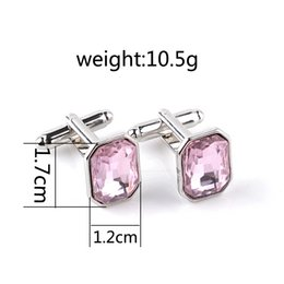 Wholesale wholesale mens shirts buttons - Pink Crystal alloy French Cufflinks for mens tie clip Cuff Link for Shirt buttons cufflinks high quality lovers wholesale 170610