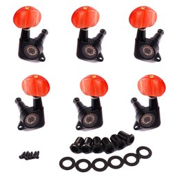 Wholesale Tuners For Acoustic Machines - 1set 3L3R Enclosed Black Tuning Pegs Machine Head Tuners w peal red Plastic Buttons for Acoustic Guitar