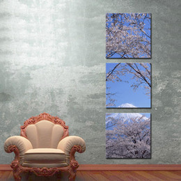 Wholesale Cherry Blossom Panel - Canvas Print Wall Art 3 panel Painting For Home Decor Peak Of Mount Fuji With Cherry Blossom Sakura In Blue Sky View From Lake Kawaguchiko