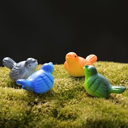 Wholesale Artificial Birds - Colorful artificial birds fairy garden miniatures gnomes moss terrariums resin craft for diy home decorations accessories