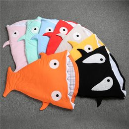 "Wholesale Cotton Quilt Fabric Wholesalers - 33"" shark sleeping bag Newborns quilt 100% cotton fabric Winter Strollers Bed Swaddle Blanket Wrap cute Bedding baby Nursery Bedding ins"