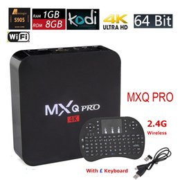 Wholesale Android TV Box MXQ Pro Amlogic S905X Quad Core k bit Smart Mini PC G G K Fully Loaded with I8 Wireless Keyboard