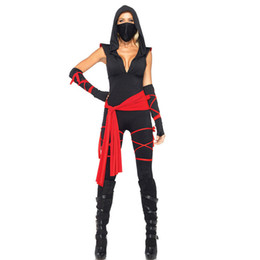 Wholesale Ninja Sexy Costume - New Adult Womens Sexy Black Halloween Party Ninja Costumes Outfit Fancy Cosplay Dresses With Mask