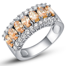 Wholesale Yellow Topaz Rings Women - Topaz Yellow Geometric Ring 925 Sterling Silver Filled Vintage Wedding CZ Ring Party Engagement Rings For Men And Women