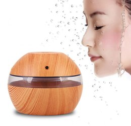 Wholesale Ultrasonic Mist Diffuser - USB Ultrasonic Humidifier 300ml Aroma Diffuser Essential Oil Diffuser Aromatherapy mist maker with Blue LED Light (Dark wood)