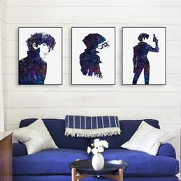 Décor mural japonais d'anime en Ligne-Moderne Aquarelle Minimaliste Toile A4 Art Impression Affiche Japonais Anime Cowboy Bebop Mur Photos Décor À La Maison Peintures No Frame