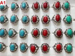 Anéis de estilo tibetano on-line-40PCS Atacado Mixed Lots Tibet Estilo Gemstone Jóias Anéis