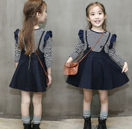 Wholesale Denim Girls Striped Dress - 2016 Autumn Children Girls Striped Long Sleeve Shirt Tops+Denim Suspender Dress 2pcs Sets Blue Kids Suits Clothing B4168