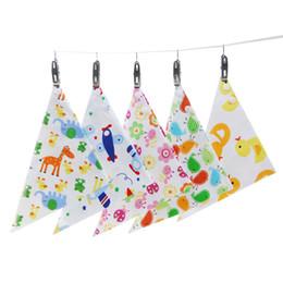 Wholesale Blue Burp Cloths - Baby Bibs Infant Triangle Towel Newborn Saliva Cloth Cotton Double Layers Press Button Cartoon Animal Flower Cute Burp Cloths