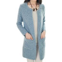 Wholesale Korean Women Fashion Jacket - Wholesale- Cardigan coat Korean temperament pocket sweater women long variegated knit sweaters jacket round neck thick vestidos MMY028