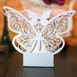 Wholesale Butterfly Tables - Party Favor Gift Wedding Candy Boxes Favor Holders Wedding Supplies Butterfly Paper Napkin Rings Holders Party Favour Table Decorations Set