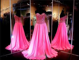 Wholesale Evening Dress Fully Beading - Fuchsia Chiffon A-Line Prom Dress Pageant Dress High Slit Fully Beaded Sweetheart Bodice Long Evening Dress