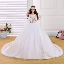 Wholesale Dolls Married - Beautiful Barbie Doll Wedding Dress Big Trailing Children Birthday Gift Married Furnishing Articles with dress for Christmas gift