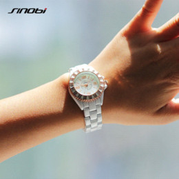 Wholesale Elegant Sinobi Ladies Watch - SINOBI White Women Watch for Luxury Brand Elegant Ladies Golden Bracelet Wristwatches with Diamond Female Fashion Clock Relojes