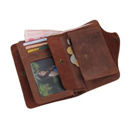 Wholesale Handmade Cowhide Purses - Wholesale- Luxury Designer Vintage Handmade 100% Genuine Crazy Horse Leather Cowhide Men Wallets Purse Card Holder Men's Wallet #MD-J8033