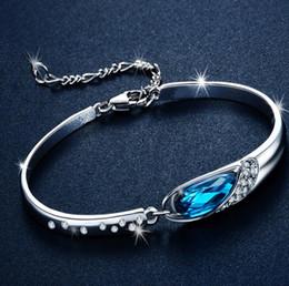 Wholesale Diamond Bangle Bracelet Silver 925 - Luxury Sapphire Bracelets Jewelry New Style Charms Blue Austria Diamond Bangle Bracelet 925 Sterling Silver Glass Shoes Hand Jewelry