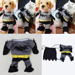 Wholesale Large Black Jacket - Cotton Clothes Costumes Batman Suit FOR Pets Puppy Dogs Cats 4 Sizes With Shawl