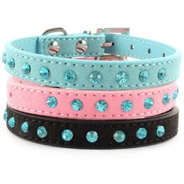 Wholesale Jeweled Leather Dog Collars - Factory Price! Small Pet Dog Velvet PU Leather Collar Puppy Cat Crystal Rhinestone Neck Strap