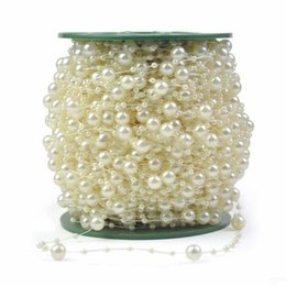 Wholesale Pearl Bouquet Diy - 246 FT(75 M) White Pearl Chain String Garland Christmas Wedding Wishing Tree Bridal Bouquet Decoration DIY Craft Supplies