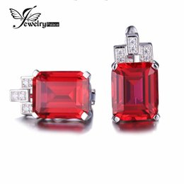 Wholesale Emerald Cut Ruby - JewelryPalace Luxury Emerald Cut 12.1ct Created Red Ruby Clip On Earrings 925 Sterling Silver Jewelry Clip Earrings For Women