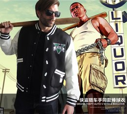 Wholesale Winter Dress Uniform - Grand Theft Auto GTA Cosplay Costume Hoodie Rider dress baseball uniform Zipper size M-XXXL Autumn Winter