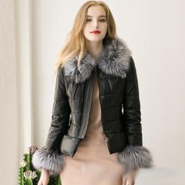 Wholesale Long Leather Quilted Sleeve Coat - Winter Fox Fur Collar PU Leather Jacket For Women Slim Warm Quilted Zipper Jackets Coats Black Parka Jacket Outwear S-3XL